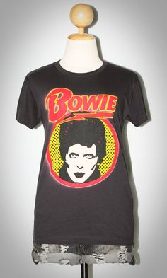 David Bowie Pop Art Charcoal Black Indie Punk Rock T-Shirt Size L