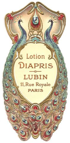 Vintage French Lotion Peacock Label