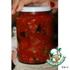 Баклажаны в томатном соке с перцем и луком - кулинарный рецепт