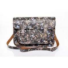 """Zatchels Black Leather 13"""" Satchel with Small Floral Pattern"""