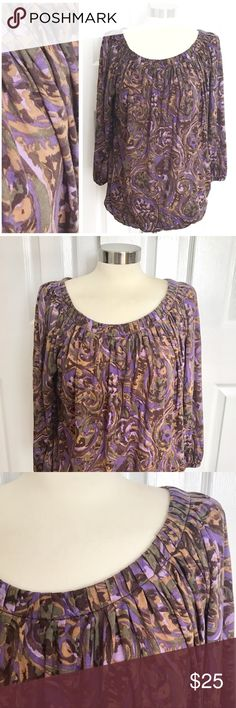 Michael Kors Purple Patterned Shirt Scoop neck, 3/4 sleeve top, elastic stretch at waist and sleeves. Purple, tan, brown, lavender, olive green pattern. Michael Kors size medium. MICHAEL Michael Kors Tops