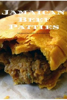 Jamaican Beef Patties, are made with a flaky pastry and are filled with a highly… Jamaican Beef Patties, are made with a flaky pastry and are filled with a highly seasoned beef filling. These patties can be found thr… Jamaican Meat Pies, Jamaican Desserts, Jamaican Beef Patties, Jamaican Patty, Jamaican Cuisine, Jamaican Dishes, Jamaican Food Recipes, Carribean Food, Caribbean Recipes