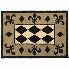 Jellybean Fleur De Lis Harlequin Indoor Outdoor Rug by Jellybean. $34.99. Black, tan, and beige rug featuring harlequin pattern with fleur de lis border. Acrylic/Polypropylene. Indoor/Outdoor. Machine washable. Jellybean Harlequin Rug/Mat. Jellybean washes better than your jeans. Jellybean rugs are very durable and will not fade or mildew. They have a special twisted hook construction that is patented, which keeps the threads from picking and pulling. Fresh, bright color...