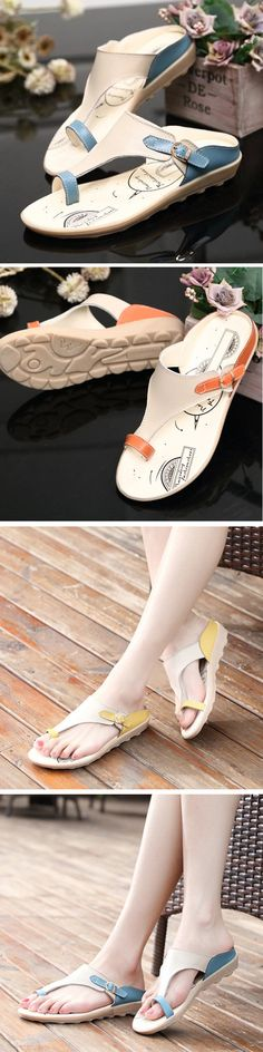 US$15.99 Leather Flat Casual Beach Open Heel Sandals