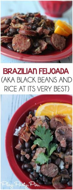 Quick and Easy Feijoada Recipe I love this stuff! Black beans and rice mixed with meat and amazing flavor, great weeknight dinner Black Bean Stew, Black Beans And Rice, Vegan Jambalaya, Jambalaya Recipe, Quick Weeknight Dinners, Easy Meals, Brazilian Dishes, Brazilian Black Beans Recipe, Kitchen