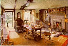 'Teatime at Hill Top' by Stephen Darbishire. When she died in 1943 Beatrix left Hill Top to the National Trust with the proviso that it be kept exactly as she left it complete with her furniture and china: visitcumbria.com