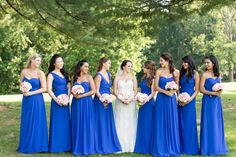 Blue bridesmaids dresses - floor-length, royal blue chiffon gowns by Bill Levkoff {Candice Adelle Photography}