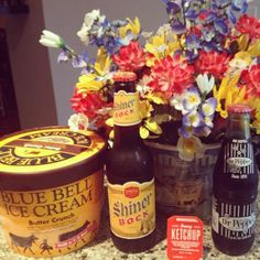 God Bless Texas!  Can't get enough of the Blue Bell, Dr. Pepper, and Ketchup.  The Shiner Bock is for making beer bread!