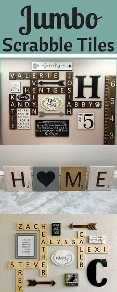 Jumbo Scrabble Tiles. Perfect for any gallery wall. Home decor ideas | diy | family | farmhouse | rustic | entryway | hallway | stairs | arrows | gifts | afflink