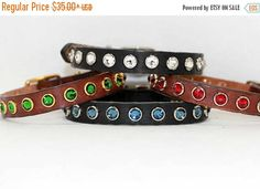ON SALE Design Your Own Small Leather Dog Collar with Large