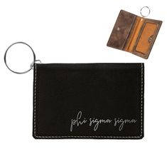 by One pocket on outside of holder, measures x 2 ID Holder has a snap closure. There are two pockets on the inside in addition to the clear ID window. The silver key ring is included, 1 diameter. Kappa Delta Chi, Sigma Alpha Omega, Tri Delta, Phi Mu, Alpha Phi, Chi Omega, Sigma Kappa, Delta Gamma, Engraved Tumblers