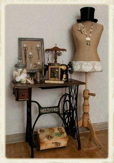 Beautiful display of vintage sewing equipment