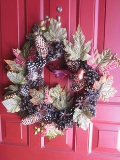 Handmade Thanksgiving wreath/ door hanger made by Elysia Lebedoff of Mischievous crafts Blog