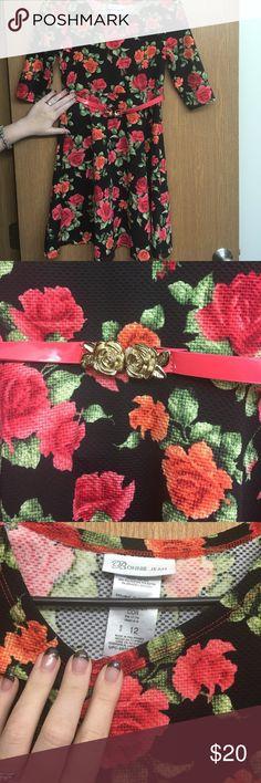 Floral on black dress with belt Floral on black dress with belt Bonnie Jean Dresses