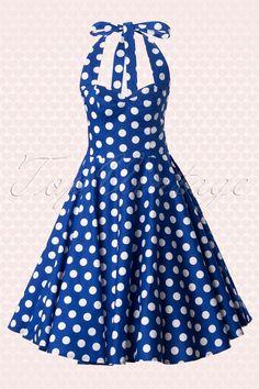 50s Retro halter 50s Meriam Swing dress in Polka blue white