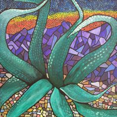 ALOE, OW ARE YOU?   Acrylic on Canvas, 30 x 30 x 2.5  mosaic painting from Southwest tour series.  This was an enormous aloe plant!   $1000