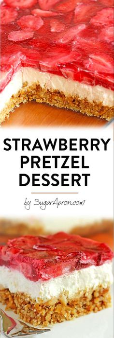 Strawberry Pretzel Salad, Strawberry Dessert Recipes, Summer Dessert Recipes, Strawberry Cookies, Desserts With Strawberries, Strawberries Garden, Easy Strawberry Desserts, Strawberry Bars, Jello Dessert Recipes