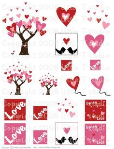 printable scrapbook embelishments Scrapbook Paper Crafts, Scrapbook Photos, Decoupage, Valentines Art, Scrapbook Embellishments, Day Planners, Printable Paper, Card Tags, Happy Planner