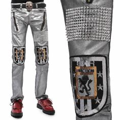 Men Metallic Silver Sequin Slim Fit Gothic Punk Rock Casual Pants SKU-11404242