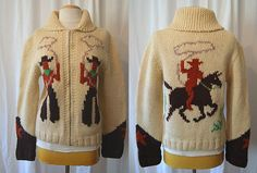 On Hold Amazing 1950's thick hand knit two tone by wearitagain, $195.00