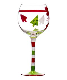 Christmas Trees & Bow Goblet #zulily #zulilyfinds