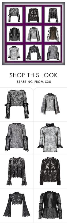 """""""BACK LACE BLOUSE"""" by beneath-the-mystic-moon ❤ liked on Polyvore featuring Boohoo, Alice McCall, Miss Selfridge, Pinko, H&M, Dolce&Gabbana, Rasario, self-portrait, Erdem and black"""