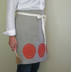 Linen Apron Tangerine Doily Screen Print Mother's by PonyAndPoppy, $36.00