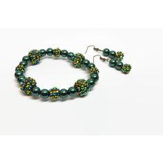Green Sparkle Stretch Bracelet Earrings Set, Green Pearl Bracelet,... ($16) ❤ liked on Polyvore featuring jewelry, earrings, pearl bridal jewelry, green earrings, wedding jewelry, sparkly earrings and green pearl earrings