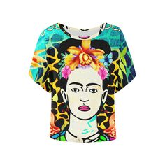 Frida Kahlo with Wings, Giraffe Print and Metallic Blue Women's Batwing Sleeve Top sold by Jantulov Designs. Shop more products from Jantulov Designs on Storenvy, the home of independent small businesses all over the world.