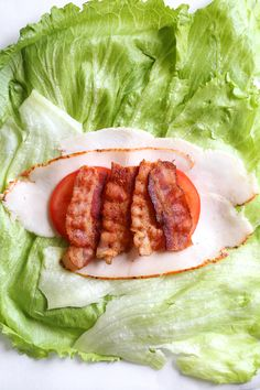 Low Carb Recipes Chicken Club Lettuce Wrap Sandwich, a low-carb (keto) lunch idea that replaces a wheat wrap for a lettuce wrap. Just 5 ingredients, and less than 10 minutes to make! Keto Lunch Ideas, Lunch Recipes, Low Carb Recipes, Diet Recipes, Cooking Recipes, Healthy Recipes, Lettuce Wrap Recipes, Low Card Lunch Ideas, Lunch Ideas For Diabetics