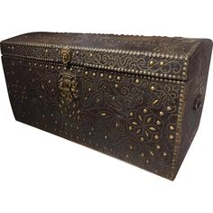 17th Century Royal French Leather Trunk from lelouvrefrenchantiques on Ruby Lane