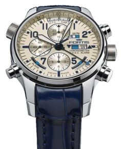 http://www.horloger-paris.com/fr/3378-fortis-flieger   Fortis F-43 Flieger Silver Line - Chronographe Alarme GMT (Référence 703-20-92m)