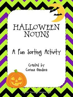 FREE Halloween Nouns! This is a fun Halloween themed noun sorting activity. It includes a noun poster and description. Students sort nouns by people, places and things. It also includes a recording sheet to write all the nouns and their own sentences.