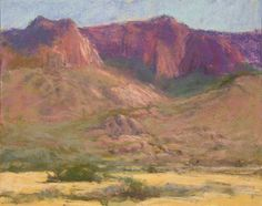 "Sandia View - Pastel 9"" x 12"" Plein air ... this is a view of a portion of the Sandia Mountains from Elena Gallages Open Space near Albuquerque NM. I painted with a group of fantastic artists after the IAPS (Int'l Asso. of Pastel Soc.) convention and this was one of about five paintings I did that day. $600.00 www.marshasavage.com"