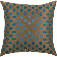 "18"" x 18"" Thumbprint Pillow - Peacock Blue/Brown"