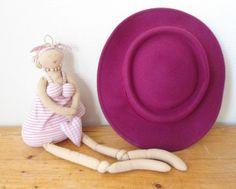woman dark pink hat Valentines gift chic lady by Sweetlakevintage, $48.00