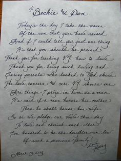 Hand Penned Calligraphy - In Law Gift (From Bride)