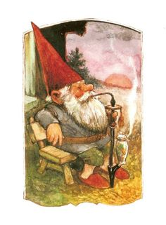 Vintage art print David the gnome smoking a pipe. By Rien Poortvliet. David The Gnome, Humanoid Creatures, Kobold, Elves And Fairies, Vintage Art Prints, Dutch Artists, Magical Creatures, Illustrations, Goblin
