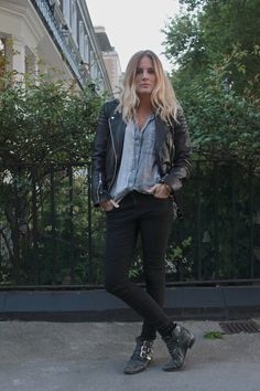 Black Boots, Black Skinny Jeans, Rough Blue Button Up, Black Leather Jacket... Bohemian Punk