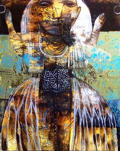 "Saatchi Art Artist Rusudan Khizanishvili ; Painting, ""Solar Plexus"" #art"