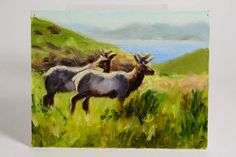 Oil On Canvas Panel Painting Caribou