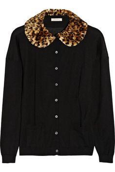 Nina+Ricci+Faux+fur-trimmed+cashmere+and+silk-blend+cardigan