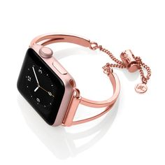 The Mia Apple Watch® cuff is a classic design with a streamlined look to enhance your everyday style. The adjustable closure with chain was designed to make res