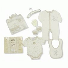 New baby Gift Set - Newborn gift set with 6 items!  Stunning 6 piece baby gift set presented in a tulle bag. With sleepsuit, bodysuit, bib, booties, mitten and hanger. Perfect for those new baby gifts!