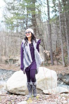 loveplayingdressup-neha-gandhi-wilsons-leather- cabin - vermont-fuzzyslippers-fireplace-ootd-cozy winter ootd - vacation rental - book - mukluks - goals - hiking - fur vest - winter getaway - staycation - inspiration