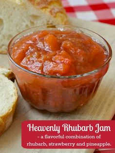 Pineapple Strawberry Rhubarb Jam a.k.a. Heavenly Rhubarb Jam - a jam my Newfoundland grandmother made in the Spring when seasonal rhubarb became available.