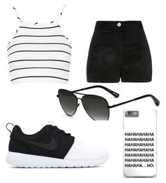 """Black and white"" by nyiaaaaa ❤ liked on Polyvore featuring River Island, Topshop and Elizabeth and James"