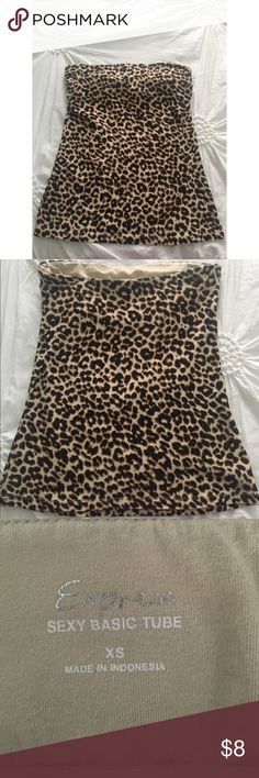Express sexy tube top Sexxyy leopard strapless top. Very comfortable and looks great on!! Has an inside bra lining. Good condition Express Tops
