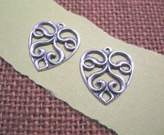 Openwork Heart Charms from Trinity Brass in by beadbarnsupplies