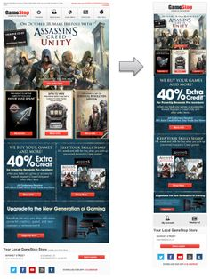 Responsive Email Design from GameStop